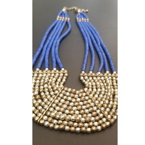 Blue/Gold bead necklace